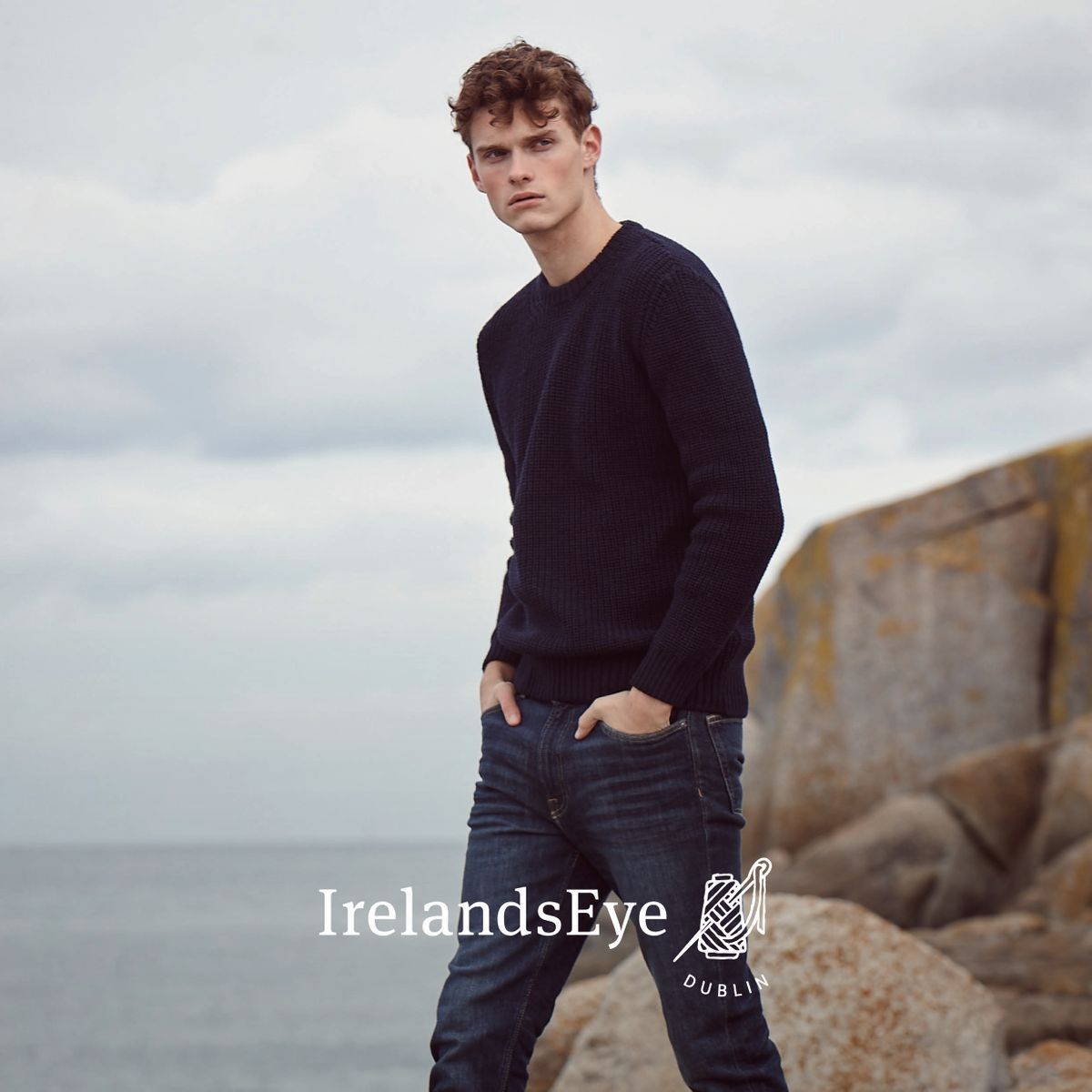 Page 07 A746 Crosshaven Ribbed Crew Neck Sweater in Navy